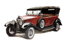 Classic retro automobiles / Handmade paintings. Pencil, watercolor, acrylic