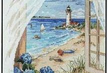 Cross Stitch-Beach, Seashells, and Light House.