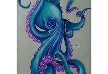 bläckfiskar och maneter