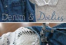 джинса с кружевом