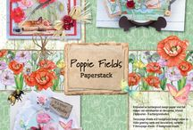 CraftEmotions - Poppie Fields / A collection matching products for cardmaking, mixed media and more. Available products: decorated paperstack A4 size (cutting sheets and background sheets), clearstamps, mask, dies set.