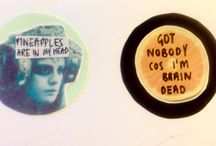 Songbird Emporium / Selling handmade badges, etsy shop will be open soon. Designs are from song lyrics.