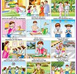 Indian school posters / Beautifully designed illustrated posters for indian school children.