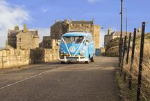 Meg the 1965 VW Lovebus / Meet and fall in love with the pastel blue #VWMicrobus for hire in Scotland. #Weddingtransport, experience days, birthday treats, engagements, picnics and special days out in #Scotland.