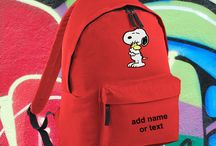 Cartoon characters on backpacks