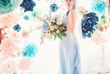 mid century modern blue wedding