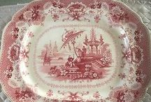Red and pink transferware
