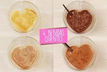 Bebidas quentes (Inverno) / Receitas práticas de bebidas quentes para nos aquecer no inverno. Drinks super deliciosos como chocolate quente, quentão...
