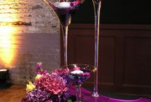 Tall martini glass centerpieces