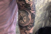 Braço preenchido tatuagem