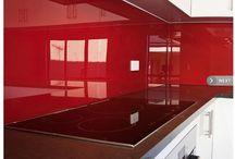 Red Splashbacks / Red Coloured glass kitchen Splashbacks range at Perth Splashbacks Western Australia