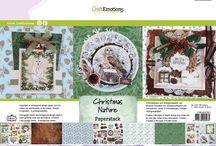 CraftEmotions - Christmas Nature / A collection matching products for cardmaking, mixed media and more. Available products (end of July - August 2016): decorated paperstack (3D) A4 size (cutting sheets and background sheets), clearstamps, mask, dies set, ribbons, Step by Step stamps.