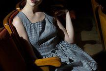 Lina Liri's Elegant High Fashion Pie De Poule Dress Fourreau Style With Tulle. / Lina Liri's Elegant High Fashion Pie De Poule Dress Fourreau Style With Tulle.