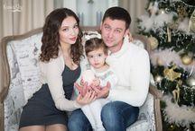 Семейная фотосессия в студии / Новогоднии семейные фотографии красивой и дружной семьи.