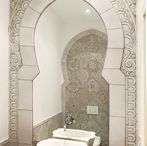 Bathroom tiles / Our bathroom tiles are handmade from start to finish. Carved in deep relief, these tiles have a unique look and can be used in bathrooms, kitchens, around the home and outdoors.