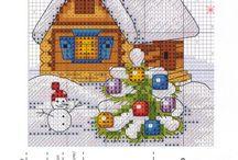 Weihnachten Sticken mit Farbpalette / Stickvorlagen mit Motiven für Weihnachten, Sylvester, Advent und mehr, immer mit einer Farbpalette! Basteln, Handarbeiten, DIY, Kränze, Nikolaus, Schnee, Winter