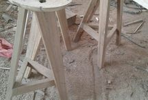 Wooden chairs and stool