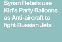 Syrian Rebels use Kid's Party Balloons as Anti-aircraft to fight Russian Jets / Syrian Rebels ingenuity has been renowned for their sophisticated improvised weapons by their foreign backers around the world and now they manage to create a low tech anti-aircraft using Kid's Party Balloons filled with hydrogen packed with small bombs/explosives trying to take down Russian warplanes.