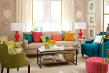 White Living Room With Color
