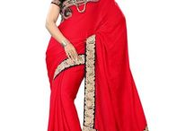 Saree / this red color saree comes with blouse.