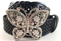 Butterfly Belt Buckles / Swarovski Crystal Butterfly Belt Buckles.  Leather snap belt included.