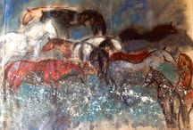 Patagonia horses in moonlight / Inspired by a recent visit to Torres del Paine national park, patagonia