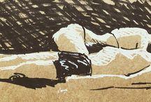 my work Sunbathing #ink #sketch #France #sketchbook www.coleajeremy.com