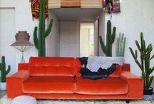 orange velvet sofas