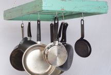 Pot Racks / These handmade wooden pot racks and pot holders add country charm and bring practical and space saving storage to a kitchen.