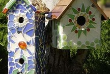 Mosaic bird houses