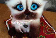 Cats handmade / Handmade toys cats wool 100%
