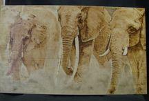 """Éléphants """"Terre d'Afrique"""" pyrogravure perso"""