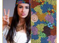"Aboriginal design Bandanas / Triangular. 100% cotton.  Size: 70x70x98cm (27""x27""x38"")  AUSTRALIA MADE"