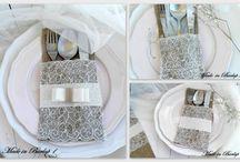 Burlap silverware / wedding decoration