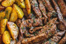 Garlic butter steak & potatoes