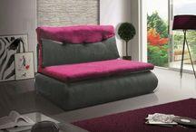 pohovky Rozkládací pohovka s úložným prostorem v kombinaci šedá ekokůže fialová látka KN019