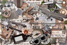 VINTAGE / HERITAGE SCRAPBOOK KITS / Vintage / Heritage themed digital Scrapbook Kits