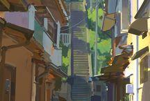 만화배경 마을 계단
