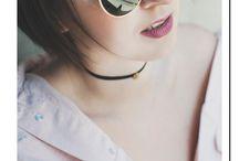 RayBan + choker + pink denim + pink lips