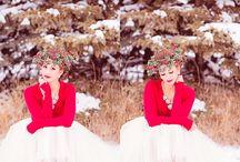 NC Photography |Styled Winter Bridal Shoot | / Styled winter bridal shoot, red and tulle, floral headpiece, bridal posing, winter wedding