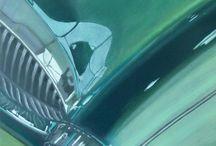 BRITISH RACING GREEN / VOITURE/AUSTIN HEALEY/PEINTURE/Huile et peinture carrosserie sur toile  60x40