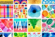Pattern Illustrations / Pattern illustrations, rainbows, flowers, flamingos, fruit etc. © magrikie