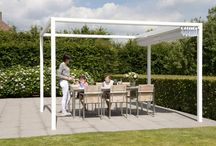 PROSTOR Cabana / 100% Aluminium Cabana pergola.  Extra living space on your patio. Offers protection both sun and rain. Sliding roof with feather-light manual operation. Very easy installed. #outdoorliving #pergola #bioclimatical #terrasoverkapping