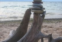 Driftwood and sand