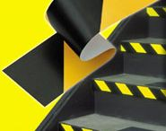 3M Safety Tape / 3M Safety Stripe Tape, 5.4 mil (0.14 mm) vinyl backing with rubber adhesive, resists most common solvents. 3M Safety Stripe Tape is often used to identify and mark traffic areas and physical hazards.