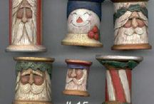wooden carved santas