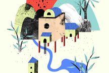 Architectural Illustration / Illustrators, designers and artists whose work I admire