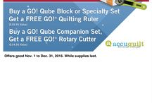 Accuquilt / Free Gift with Purchase through Dec 31, 2016 while supplies last!  Cutting Machines, Qubes, Companiion Sets & Lots of Dies in Stock