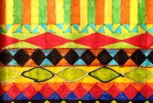 Year 8 Coursework / African Geometric Designs. Pen and metallic embroidery thread.
