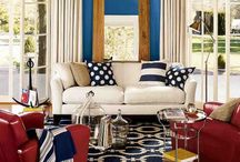 Americana: Red, White & Blue / Red, white and blue in interiors, furniture, accessories and more. Americana color schemes in decor.